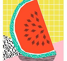 Dyno - watermelon throwback memphis 1980's retro style dots grid bright colorful modern hipster art by wackadesigns