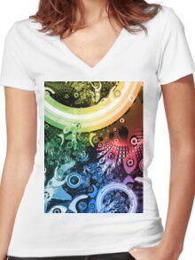 Rainbow Paintbrush Women's Fitted V-Neck T-Shirt