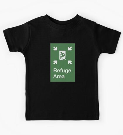 Refuge Area Accessible Exit Sign, with the Accessible Means of Egress Icon, part of the Accessible Exit Sign Project Kids Tee