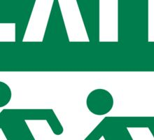 Emergency EXIT Sign, with the Accessible Means of Egress Icon and Running Man, part of the Accessible Exit Sign Project Sticker