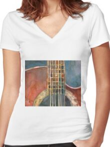 Ovation Acoustic Red Guitar Women's Fitted V-Neck T-Shirt