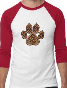 Celtic Knot Pawprint - Red Men's Baseball ¾ T-Shirt