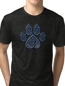 Celtic Knot Pawprint - Blue Tri-blend T-Shirt