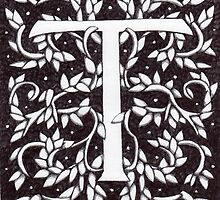 """Art Nouveau """"T"""" (William Morris Inspired) by Donna Huntriss"""