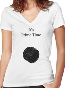 Prime Time Light Colored Women's Fitted V-Neck T-Shirt