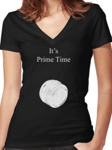 Prime Time Dark Colored Women's Fitted V-Neck T-Shirt