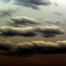 Clouds and sky with plane by natash