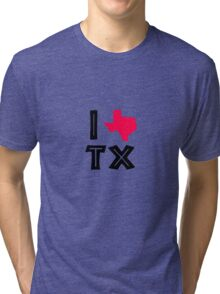 I love texas geek funny nerd Tri-blend T-Shirt