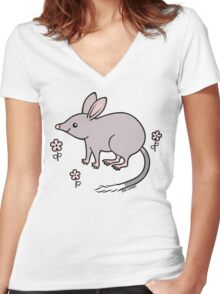 Pretty Bilby with Flowers Women's Fitted V-Neck T-Shirt