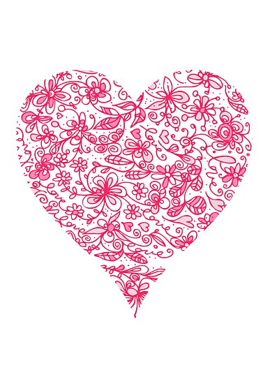 Pink Flower Heart by Carla Martell