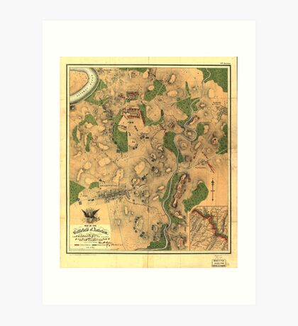 Civil War Map of the Battlefield of Antietam Sept 17 1862 Art Print