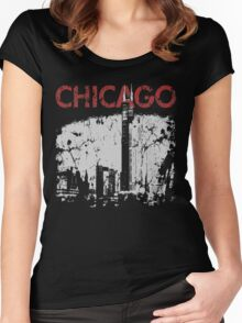 Vintage Chicago Tower Skyline Women's Fitted Scoop T-Shirt