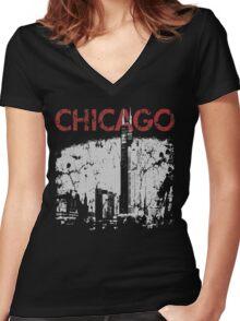 Vintage Chicago Tower Skyline Women's Fitted V-Neck T-Shirt