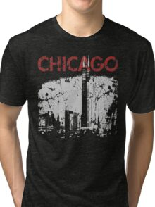 Vintage Chicago Tower Skyline Tri-blend T-Shirt