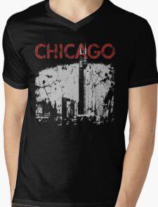 Vintage Chicago Tower Skyline Mens V-Neck T-Shirt