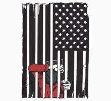 Guantanamo US Flag Political T-shirt. Prisoner behind bars. by AllRiot-tshirts