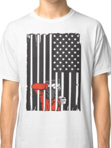 Guantanamo US Flag Political T-shirt. Prisoner behind bars. Classic T-Shirt