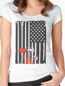 Guantanamo US Flag Political T-shirt. Prisoner behind bars. Women's Fitted Scoop T-Shirt