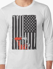 Guantanamo US Flag Political T-shirt. Prisoner behind bars. Long Sleeve T-Shirt