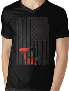 Guantanamo US Flag Political T-shirt. Prisoner behind bars. Mens V-Neck T-Shirt