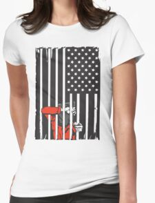 Guantanamo US Flag Political T-shirt. Prisoner behind bars. Womens Fitted T-Shirt