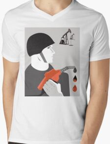 A Drop of Blood for a Drop of Oil Anti War Political T-shirt  Mens V-Neck T-Shirt