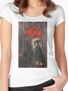 Pink Umbrella  Women's Fitted Scoop T-Shirt