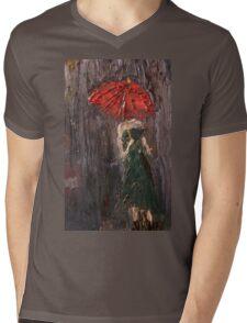 Pink Umbrella  Mens V-Neck T-Shirt