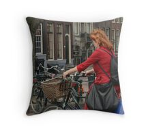 shopper on bike Throw Pillow