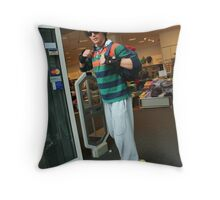 shopper on rollerskates Throw Pillow