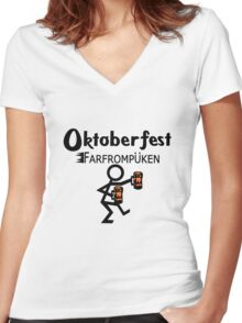 Oktoberfest farfrompukin geek funny nerd Women's Fitted V-Neck T-Shirt