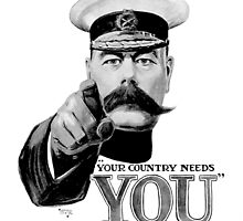 World War One, Lord Kitchener, WW1, Your Country needs you! Recruitment Poster by TOM HILL - Designer