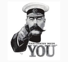 World War One, Lord Kitchener, WW1, Your Country needs you! Recruitment Poster Kids Clothes