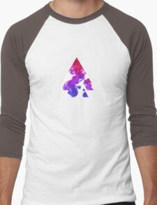 Abstract Geometry: Swirling Psychedelic Oils (Purple/Pink/White) Men's Baseball ¾ T-Shirt