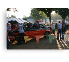 getting ready for the demolition derby Canvas Print