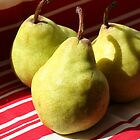 Green pears on red stripes by Sue Brown