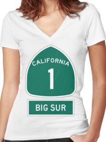 PCH - CA Highway 1 - Big Sur Women's Fitted V-Neck T-Shirt