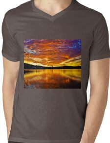Burning sky Mens V-Neck T-Shirt