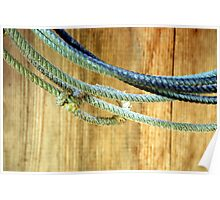 Rope Wood - Lasso rope hangs on the barn wall Poster