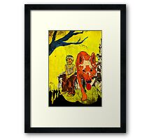 boy och dog Framed Print