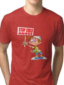 Stop Child Abuse Awareness Tri-blend T-Shirt