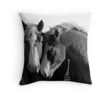Loyal Friends - 3 Friendly Belgian Draft Horses Throw Pillow