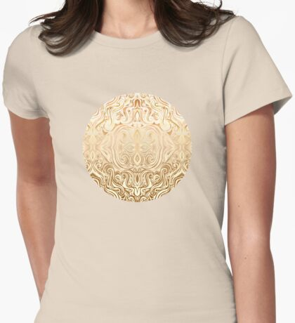 Tribal Swirl Pattern in Neutral Tan and Cream Womens Fitted T-Shirt