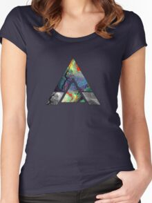 Abstract Geometry: Colorful Psychedelic Oils (Dark Grey) Women's Fitted Scoop T-Shirt
