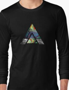 Abstract Geometry: Colorful Psychedelic Oils (Dark Grey) Long Sleeve T-Shirt