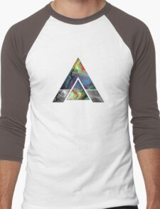 Abstract Geometry: Colorful Psychedelic Oils (Dark Grey) Men's Baseball ¾ T-Shirt