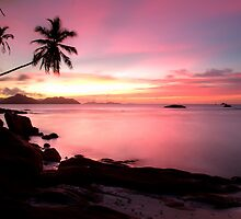 Pink sunset Ladigue, Seychelles island by Gyuri Nagy