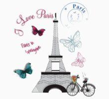 Trendy Eiffel Tower Paris Themed One Piece - Long Sleeve