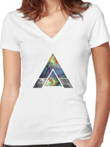 Abstract Geometry: Colorful Psychedelic Oils (White) Women's Fitted V-Neck T-Shirt