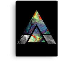 Abstract Geometry: Colorful Psychedelic Oils (Black) Canvas Print